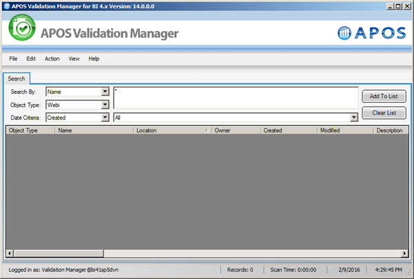 APOS Validation Manager